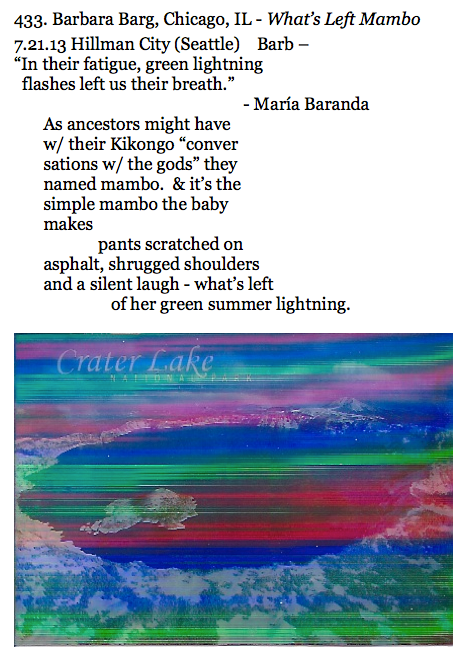 433. Barbara Barg, Chicago, IL - What's Left Mambo (3d scan of Crater Lake postcard not quite like having the card in your hands)