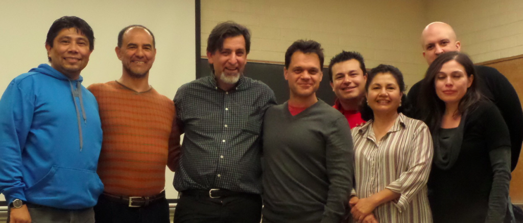 Daniel Alvarado Argueta, Pedro Lopez, Paul Nelson, Pablo Baler, Lorenzo Sastre, Cecilia Lara, Pablo Pedroarias and Zoila Pineda. Dec 3, 2013, Cal State U at L.A.