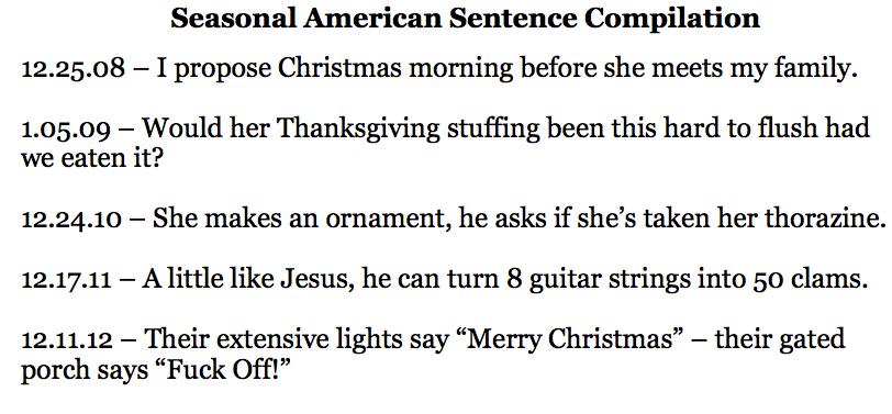 Seasonal American Sentence Compilation