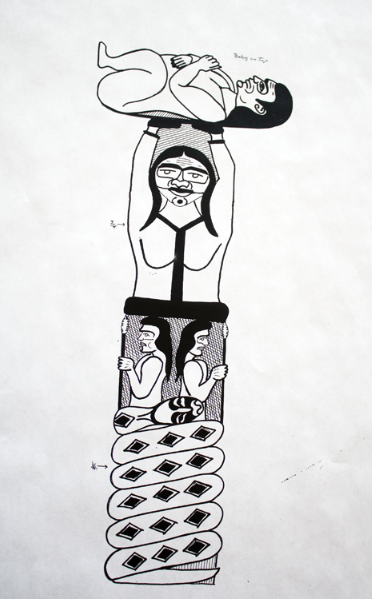 Jewell James Totem Pole Drawing
