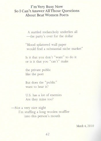 I'm Very Busy Now.... Joanne Kyger