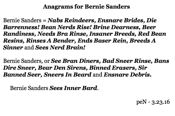 Anagrams for Bernie Sanders
