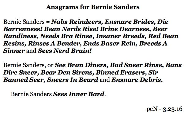 Anagrams for Bernie Sanders